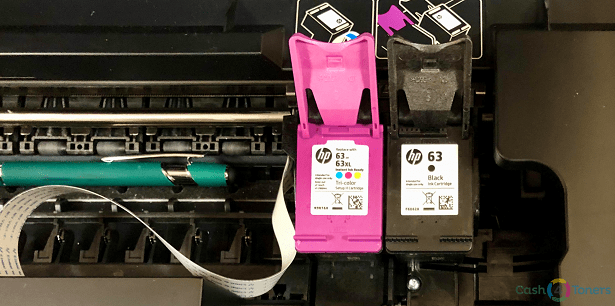 HP ink cartridges inside an Envy 4520 MFC printer.