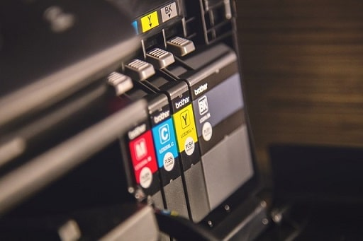 Inkjet printer using four separate ink cartridges to print: black, cyan, magenta, and yellow.