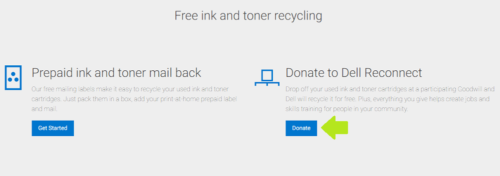 Dell Cartridge Recycling - Donating Option
