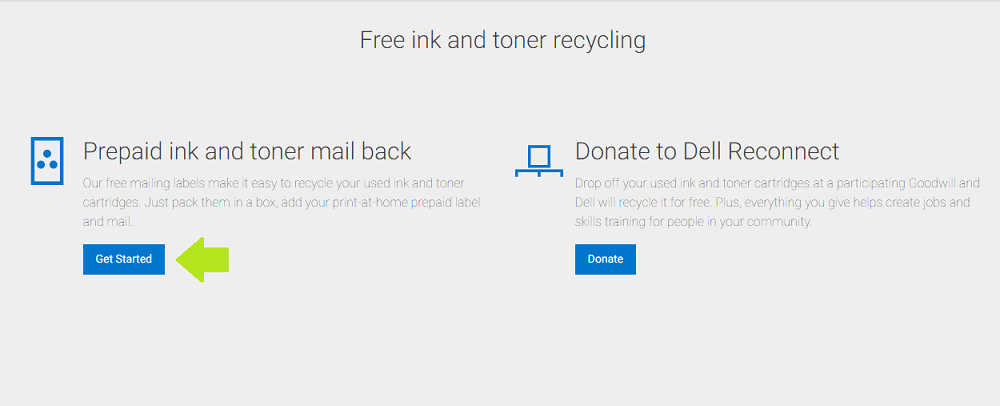 Dell Cartridge Recycling - Screenshot from Dell Technologies