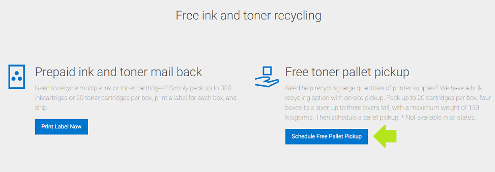 Dell Toner Recycling - Pallet Pickup - Screenshot