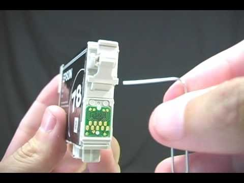Resetting Epson ink cartridge with a paper clip